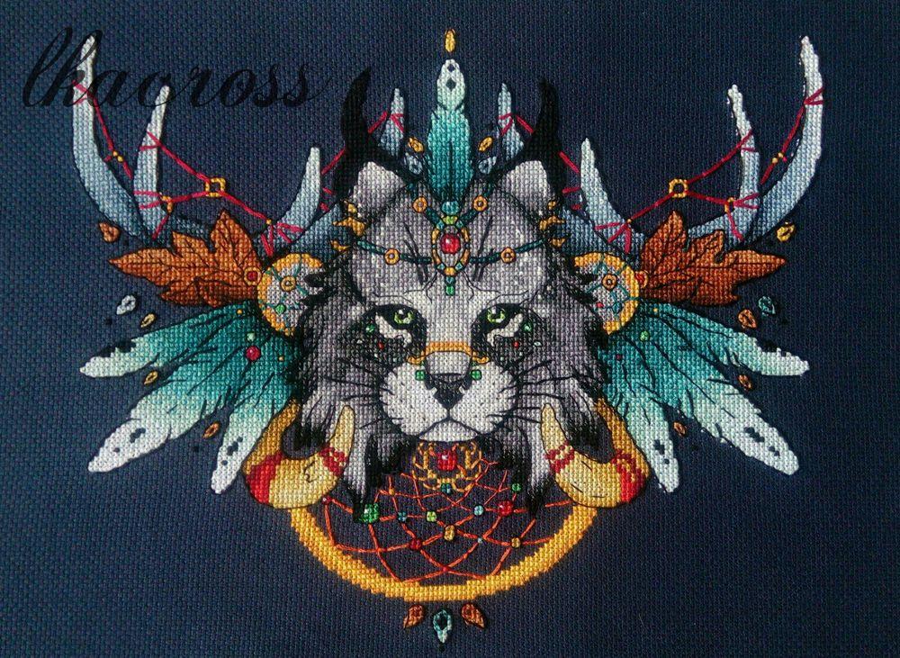 Схема для вышивания крестиком Рысь. Отшив.
