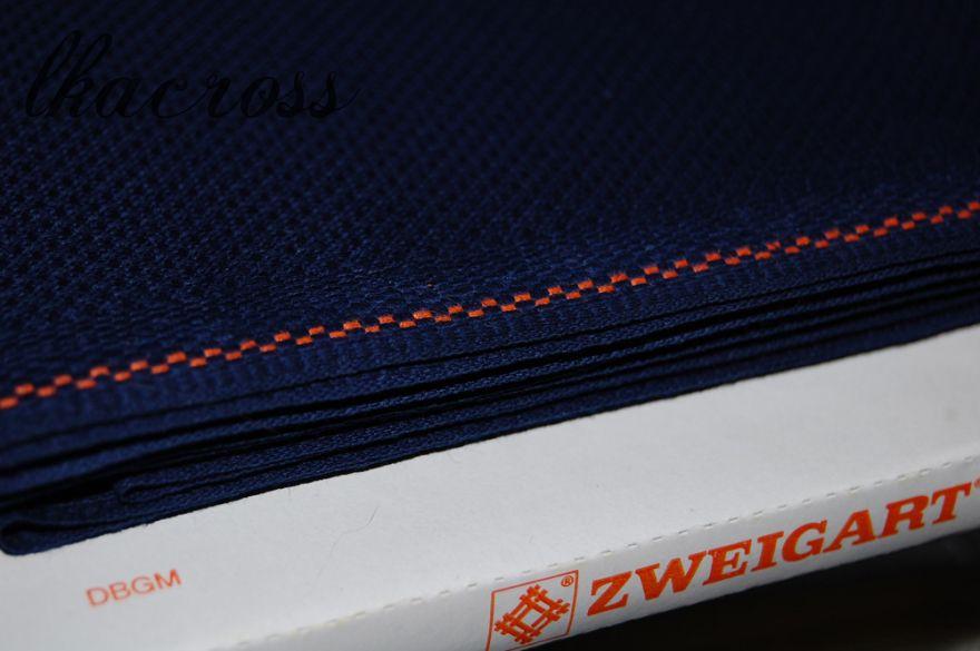 Схема для вышивки крестом Zweigart Aida ct.14 темно-синяя