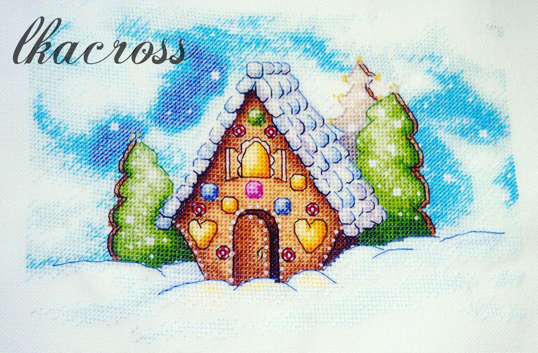 Схема для вышивки крестом Пряничный домик. Отшив.
