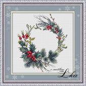 """Схема для вышивки крестом """"Рождественский венок""""."""